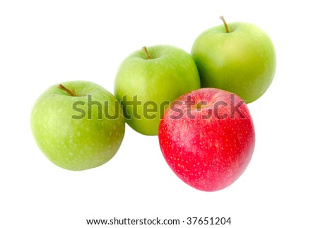 A red apple standing out from the crowd. Suitable for concepts and ideas such as outstanding, leadership, individualistic, success, daring to be different, and healthy eating and a healthy lifestyle. - stock photo