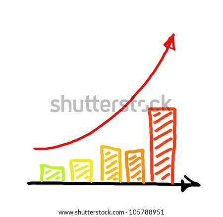 a red arrow business graph hand drawing - stock photo