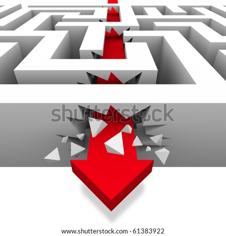 A red arrow crashes through the walls of a maze to freedom - stock photo