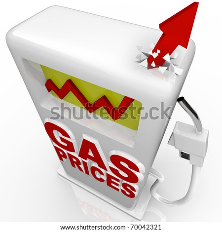 A red arrow crashes through top of gasoline pump over the words Gas Prices - stock photo