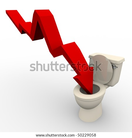 A red arrow plunges down into the toilet