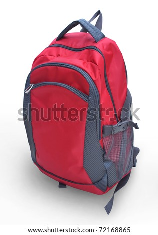 A red backpack isolation - stock photo