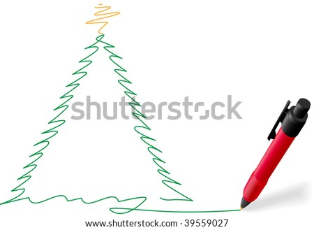 A red ball point pen drawing or writing a Merry Christmas tree greeting green ink on white copyspace. - stock photo