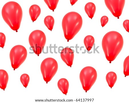A red balloon isolated against a white background