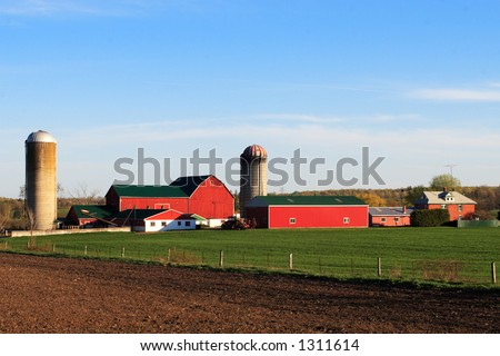 A red barn in a green grass field. - stock photo