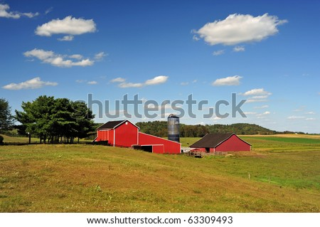 A red barn in eastern Ohio - stock photo