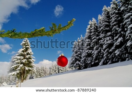 a red bauble in a winter landscape - stock photo