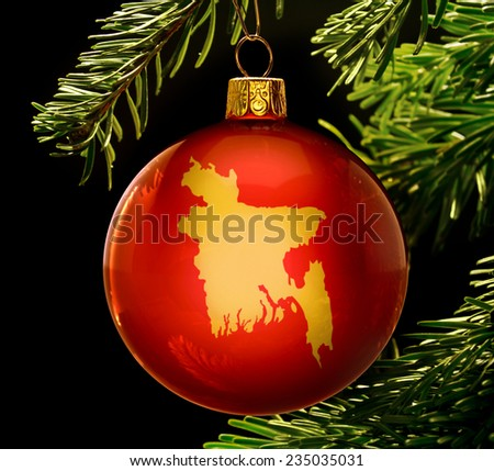 A red bauble with the golden shape of  Bangladesh hanging on a christmas tree isolated on black.(series) - stock photo