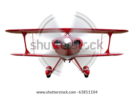 A red biplane, front view with propeller in motion, isolated on a white background. - stock photo