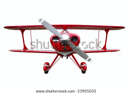 A red biplane isolated on a white background. - stock photo