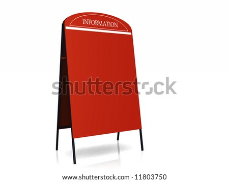"""A red blank billboard with the text """"information"""" at the top. - stock photo"""
