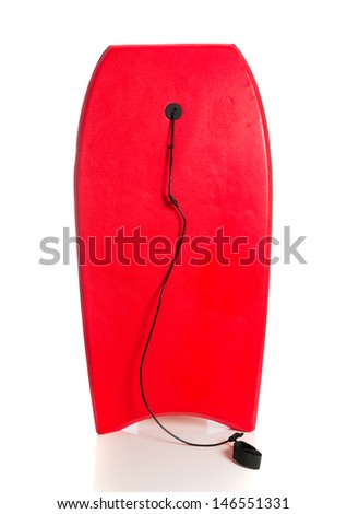 A red boogie board on a white background - stock photo