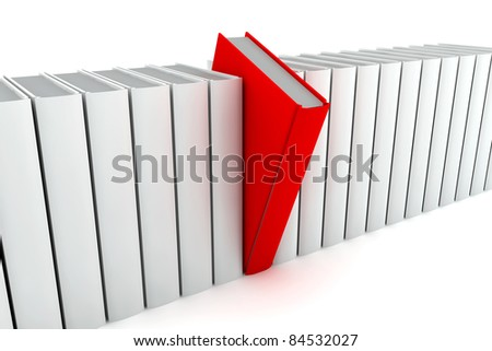 A red book go out from many others white - stock photo