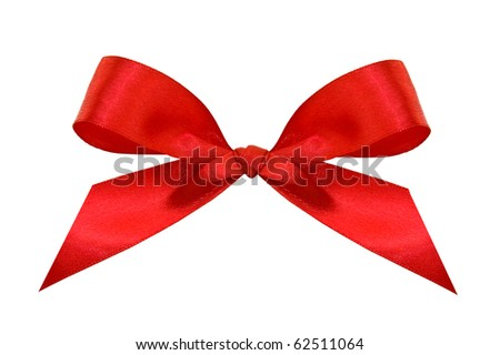 A red bow isolated on a white background with clipping path. - stock photo