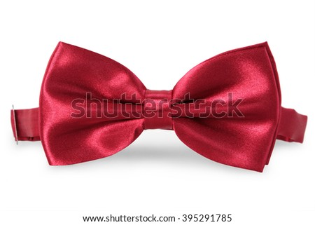 A red bow Tie, isolated on white background - stock photo
