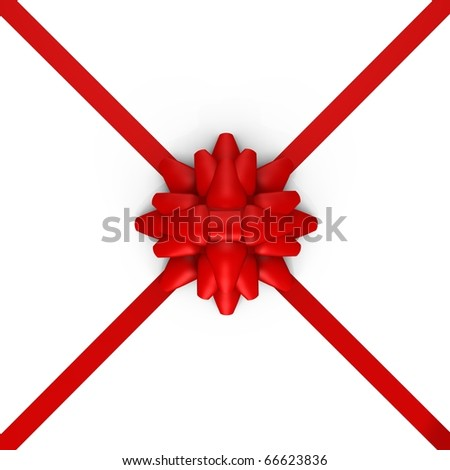 A red bow with ribbons - a 3d image - stock photo