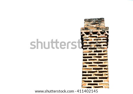 A red brick masonry chimney on a residential home.. isolated white background. with Clipping Path - stock photo