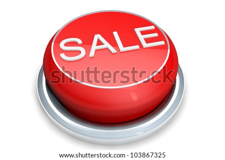 A red button with the Sale word on a white background