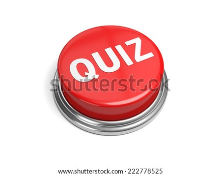 A red button with the word quiz on it - stock photo