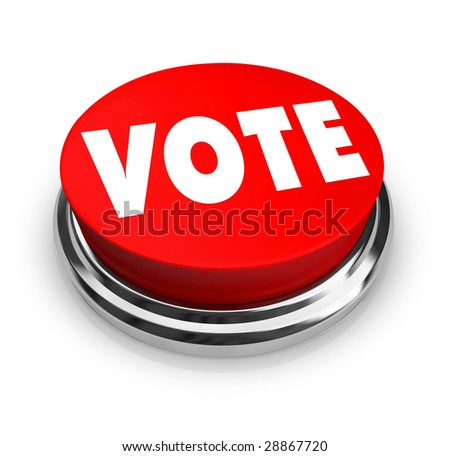 A red button with the word Vote on it - stock photo