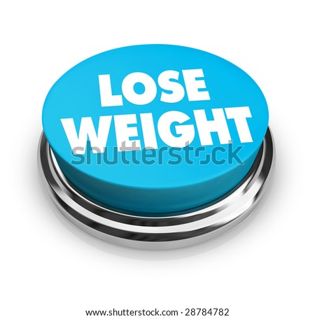 A red button with the words Lose Weight on it - stock photo