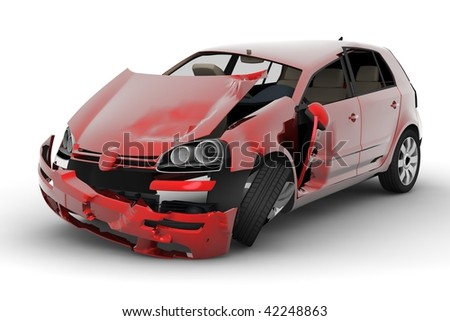 A red car accident isolated on white background - stock photo