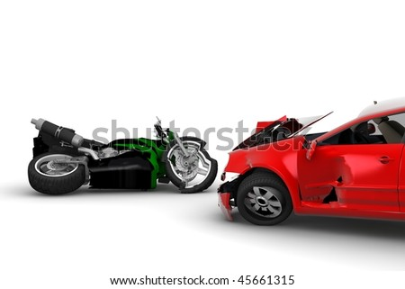 A red car and a green motorbike crush - stock photo