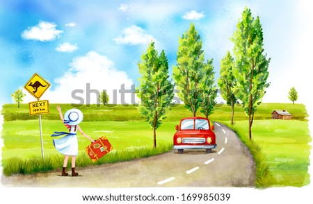 A red car on a country road with three trees at the side of the road. A girl in an old fashioned school uniform is waving at the car. She is standing by a sign depicting a kangaroo crossing a road. - stock photo