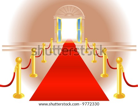A red carpet leading up to a lavish door to an exclusive venue - stock photo