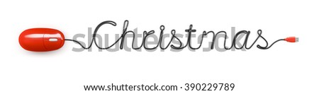 A red computer mouse and the word Christmas formed by the cable - stock photo