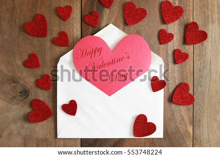 Red construction paper homemade greeting card stock photo edit now a red construction paper homemade greeting card with the words happy valentines day m4hsunfo