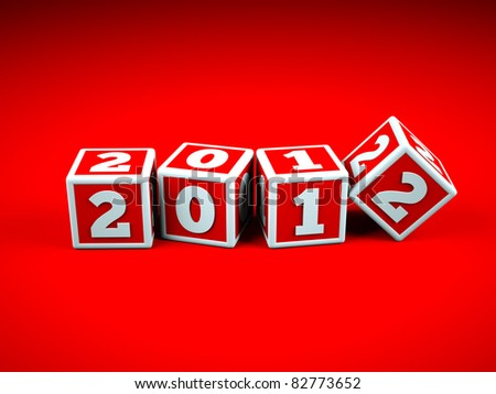 a red cubes with digits inside in a shape 2012 - stock photo