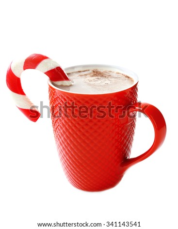 A red cup of cocoa and Christmas candy, isolated on white - stock photo