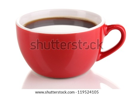 A red cup of strong coffee isolated on white - stock photo