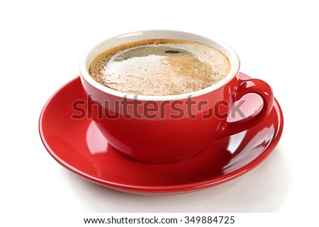 A red cup of tasty coffee, isolated on white - stock photo