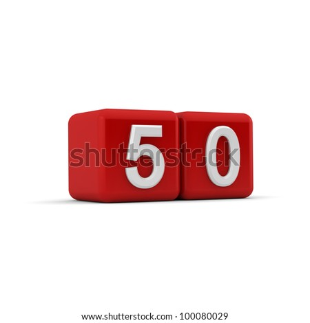 A red 3D block with white number fifty