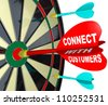 A red dart with the words Connect with Customers hitting the center or bulls-eye of a dartboard to represent successful communication and forging a bond with a customer - stock photo