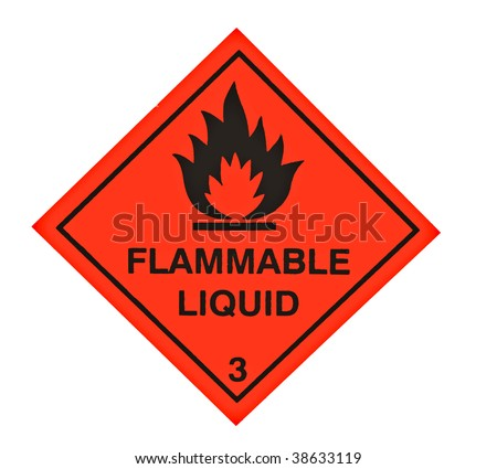 A red diamond shaped sign warning of flammable liquid - stock photo