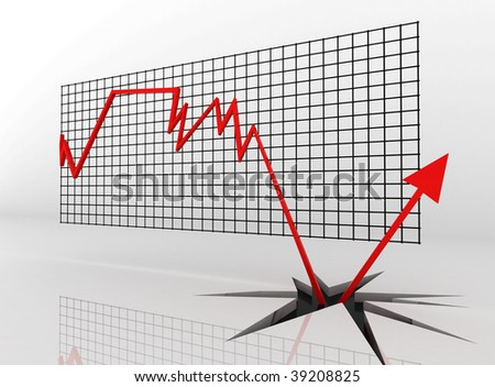 A red down arrow breaking through the edges - stock photo