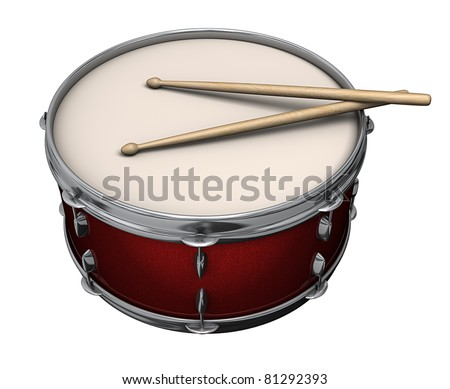 A red drum with drumsticks isolated on a white background