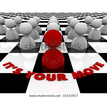 A red figure on a chess board contemplates its next move - stock photo