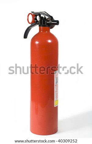 a red fire extinguisher isolated on a white background - stock photo