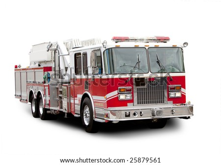 A red fire truck isolated on white with a shadow - stock photo