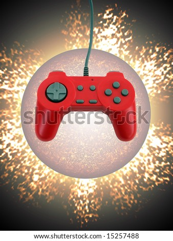 A red game controller isolated over an exploding planet background.  This file includes the clipping path for the controller. - stock photo