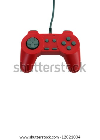 A red game controller isolated over white with plenty of copyspace.  This file includes the clipping path. - stock photo