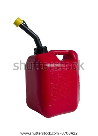 A red gas can isolated on a white background. - stock photo