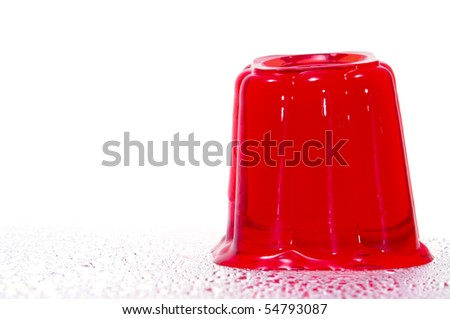 a red gelatin isolated on a white background - stock photo