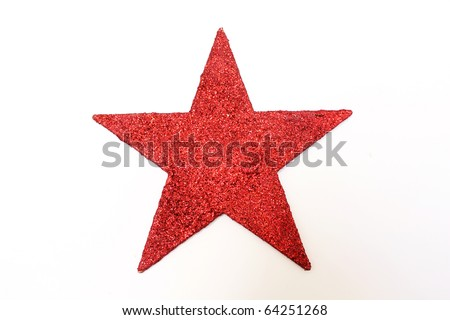 a red glitter star isolated on white background