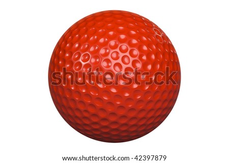 A red golf ball isolated on white background including clipping path - stock photo