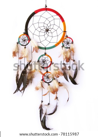 A red,green and black dream catcher isolated in white. - stock photo